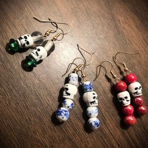 One of a kind skull earrings with vintage beads!